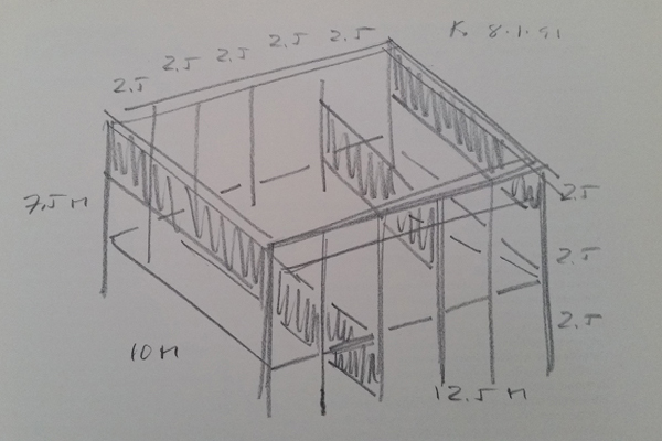 "Donald Judd ""Stage Set"" Sketch 1991"